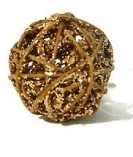 Pier 1 Decorative Sphere Mini Rattan Glitter Balls Copper Fillers Christmas New