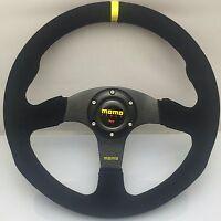 340mm Black Suede Leather Flat Steering Wheel For MOMO Racing OMP Hub Rally YL
