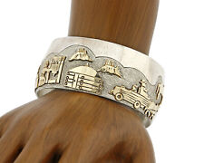 Navajo Artist Jacob Kahe SOLID .925 Silver & 12k Gold Plate Pictograph Cuff