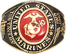 Gold Plated United States Armed Forces Deluxe 18k Engraved Military Ring US Made