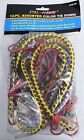 12 Assorted Sizes Tie Down Cords Elastic Bungee Coated Steel Hooks Woven Colors