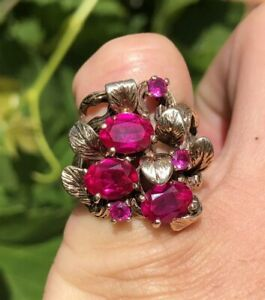 Vtg Brutalist Modernist Mid Century 10k Yellow Gold & Red Ruby Free Form Ring