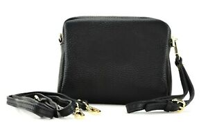 Ladies small BLACK LEATHER Italian shoulder bag clutch handbag crossbody bag