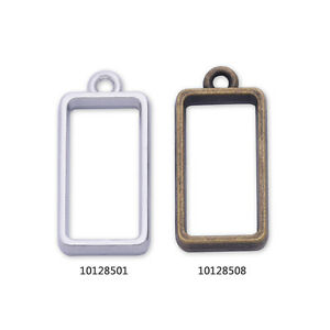 10 Metal Rectangular frame 20*11*4mm open back pendant  Resin Setting Blanks