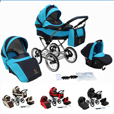 Baby Pram Stroller and Pushchair Buggy Classic Retro 3in1 Travel system car seat