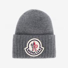Moncler Wool Logo Patch Beanie Hat - Grey