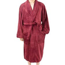 "New Leisureland Men's Coral Fleece Plush Bathrobe Bath Robes 50"" Burgundy"