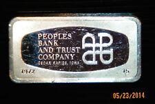 Franklin Mnt PEOPLES BANK TRUST Cedar Rapids IA 2.08 Troy 1972 Sterling Silver