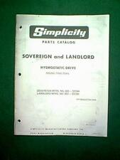 SIMPLICITY SOVEREIGN 655 3314H & LANDLORD 657 3310H HYDROSTATIC PARTS MANUAL