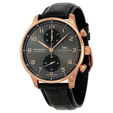 IWC Portuguese Grey Dial Chronograph Rose Gold Leather Automatic Mens Watch