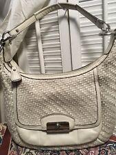 Coach KRISTIN Woven Leather Hobo Shoulder Handbag 19314 Parchment White