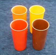 Vintage Tupperwear Tumbler Set of 4 Browns & Yellows Camper Van Good Condition