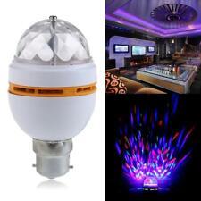 Newest B22 3W RGB Crystal Ball Rotating LED Stage Light Bulbs Disco Lamp  #s