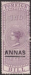 India 1898 QV Revenue Foreign Bill Surcharge 2a on 2r Unused BF21