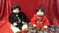 "Native American Boy & Girl Dolls Procelain 20"" tall with Tourquise jewerly"