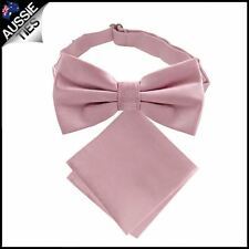 Blush Dusky Pink Bow Tie and Pocket Square Set