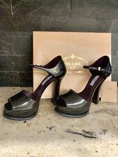 Prada peep toe platform black pump/sandal
