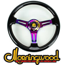 "BLACK WITH NEO CHROME CENTER STEERING WHEEL 350MM/14"" DEEP DISH CLASSIC"