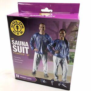 """Golds Gym Sauna Suit Size M/L Blue Top w/ Gray Pull On Pants Vinyl Waist 30""""-38"""""""