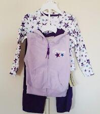 Converse Girls 3 pc Pant Set 2T Velour Hoodie Vest Purple & Lavender Reg $ 52.00