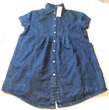 Isabella Rodriguez Short Sleeve snap up long shirt Womens Size S Denim Blue NWT