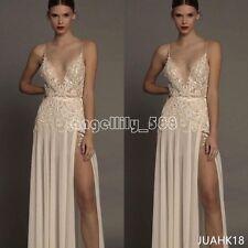Berta 2017 Lace Beach Wedding Dresses Side Split Appliques Bead Chiffon Gowns