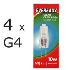 4 x Eveready G4 Eco 10W Halogen Capsule Bulb 120 Lumens 12V Lamp