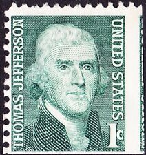 US - 1968 - 1 Cent Green Thomas Jefferson Issue Miscut Jumbo Stamp # 1278 Used