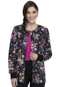 Cherokee Women's Snap Front Warm-up Jacket Bouquets Of Hope XS