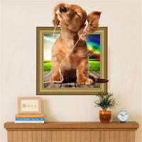 DIY Pet Dog Breakthrough Animals Window Wall Decal 3D Art Stickers Vinyl Room UK