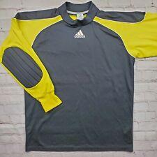 Vintage ADIDAS Black and Yellow GOALIE JERSEY Shirt Mens Medium Padded Elbows