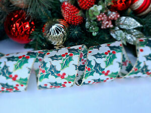 CHRISTMAS WIRED EDGE RIBBON 2.5 IN WIDE HOLLY BERRIES WRAP GIFT WRAPPING BULK