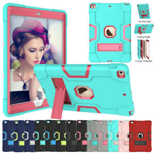For Apple iPad iPad 10.2 9.7 Mini Shockproof Tough Rubber Hard Stand Case Cover