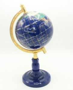 "12"" Tall World Globe Gemstone Lapis Globe w/ Brass Stand 12"" Around"