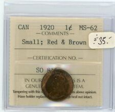 1920 Canada Small One Cent - ICCS MS-62 Red and Brown