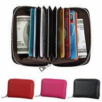 Women Men Leather Wallet Zipper Blocking ID Credit Card Cash Case Holder Purse
