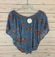 En Creme Anthropologie Women's M Medium Blue Floral Cropped Top Blouse NEW TAGS