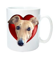 Greyhound Mug Gift Fawn Greyhounds in Heart. Mothers Day Gift % to Hound Charity