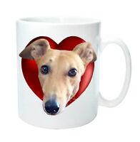 Greyhound Mug Gift Fawn Greyhounds in Heart. Birthday Gift % to Hound Charity