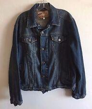 Sideout Trucker Jacket Denim Biker Rockabilly Blue Jean Men's Large L