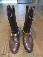 WRANGLER COWBOY BOOTS BROWN DETAILED BUCKLE STIRRUP CHAINS SIZE 5 BIKER LEATHER