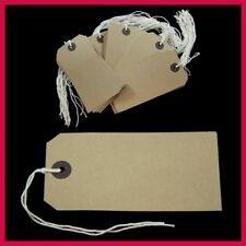 100 Merit Quality Brown Parcel Strung Tags 96mm x 48mm Tie On Craft Labels