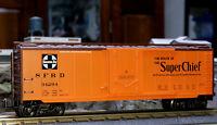 O GAUGE FREIGHT CAR LIONEL K-LINE K766-1058 SANTA FE CHIEF MAP 40' REEFER #34294