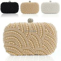 Handbag Satchel Women Clutch Bag Pearl Beaded Cocktail Hand Bag Vintage C1MY