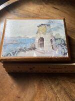 Vintage Annabella Box Jamaica Wooden Trinket Box  With Graham Davis Painting