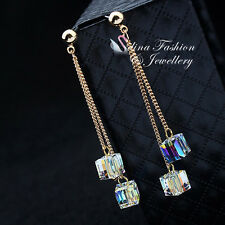 18K Yellow Gold GP Made With Swarovski Crystal 2x Chain Water Cube Drop Earrings