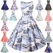 Women Vintage Style Pinup Swing Evening Party Sleeveless Rockabilly Retro Dress