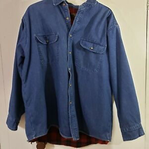 Flannel Lined Blue Jean Denim Shirt XL Black Red Plaid Chesterfield