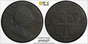 1773 Virginia No Period 1/2 Penny Colonial Copper Coin PCGS VF Detail Env Damage