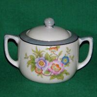 Vintage Noritake Sugar Bowl   Mid 1920's Floral Blue  Lusterware trim